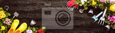 Fototapeta Narzędzia ogrodnicze na tle gleby. Spring Garden Works Concept