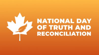 Fototapeta national day of truth and reconciliation modern creative banner, design concept, social media post with white text on an orange background