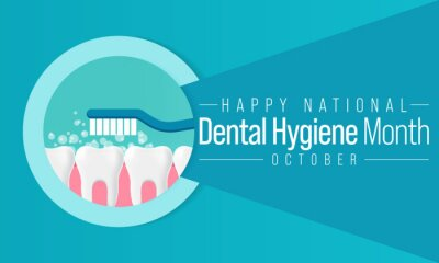 Fototapeta National Dental Hygiene month is observed every year in October, to celebrate the work dental hygienists do, and help raise awareness on the importance of good oral health. Vector illustration