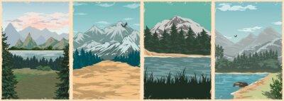 Fototapeta National parks vintage colorful posters