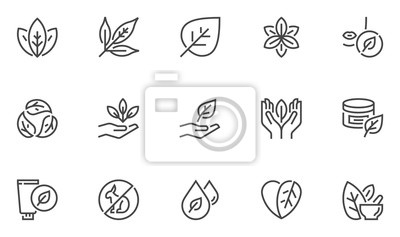 Fototapeta Natural and organic cosmetics vector line icons set. Skincare, no synthetic fragrance and colors, no animal testing. Editable stroke. 48x48 Pixel Perfect.