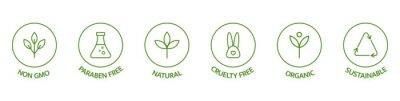 Fototapeta Natural cosmetic icons. Beauty badges. Cruelty free, vegan, bio, paraben free, labels. Skincare logo. GMO free emblems. Organic cosmetic line art stickers. Healthy food. Vector illustration