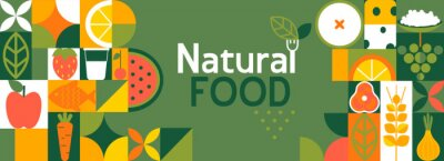 Fototapeta Natural food banner in flat style. Fruits and vegetables in simple geometric shapes.Great for flyer, web poster, natural products presentation templates, cover design. Vector illustration.