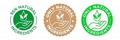 Fototapeta Natural ingredients product icon, green organic bio vector logo with hand, leaf and drop. 95 percent natural ingredients, pure eco label stamp for products package, GMO free and no paraben certificate