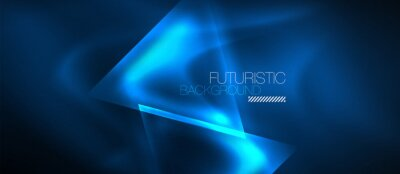 Fototapeta Neon geometric abstract background. Triangles with color glowing light effects in the dark. Vector illustration for covers, banners, flyers and posters and other