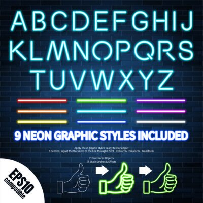 Fototapeta Neon graphic styles collection included in the file, can be applied to any object or text, vector EPS10