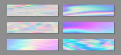 Fototapeta Neon holo surreal banner horizontal fluid gradient mermaid backgrounds vector set. Pastel