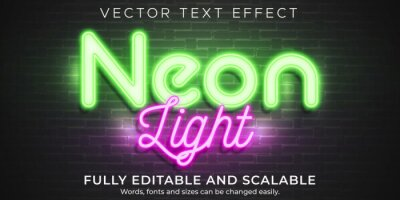 Fototapeta Neon light text effect, editable retro and glowing text style