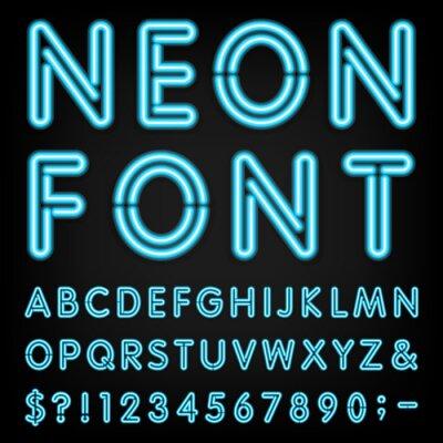 Fototapeta Neon Light Vector Alphabet