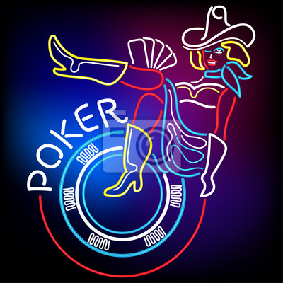 Neon Poker Banner w Vegas
