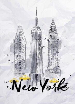 Fototapeta New York budynki akwarela