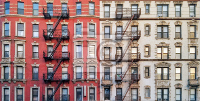 Fototapeta New York City historic apartment building panoramic view with windows and fire escapes