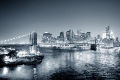 New York City Manhattan downtown czerni i bieli