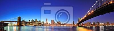 New York City Manhattan panorama o zmierzchu