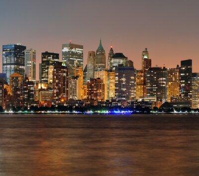 New York City Manhattan panorama, zmierzch