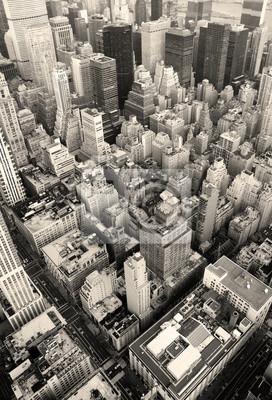 New York City Manhattan skyline aerial view black and white
