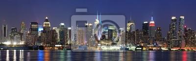 New York City panoramę Manhattanu, w zmierzchu