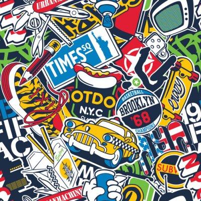 Fototapeta New York City urban stickers patchwork abstract vector seamless pattern