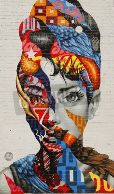Fototapeta NEW YORK - FEBRUARY 26, 2015: Mural art Audrey of Mulberry by Tristan Eaton in Little Italy.