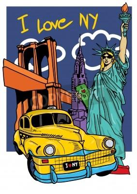 Fototapeta New york free hand pop art