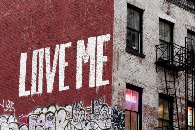 Fototapeta New York Kochaj mnie malowanie budynku na Manhattanie