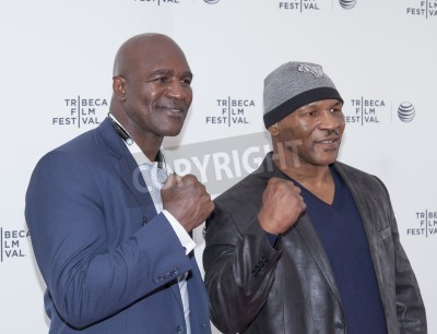 Fototapeta New York, NY, USA - April 19, 2014: Professional Boxers Mike Tyson and Evander Holyfield attend Tribeca Talks: After the Movie: 'Champs' during the 2014 Tribeca Film Festival at the SVA Theater, Manha