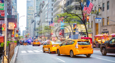 Fototapeta New York, streets. High buildings, cars and cabs