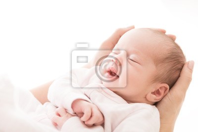 Fototapeta Newborn Baby Sleep on Mother Hands, New Born Girl Smiling and Sleeping, Happy Two Weeks Old Child on White