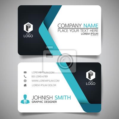 Fototapeta Niebieska nowoczesna kreatywna wizytówka i nazwa karty, poziome proste czyste szablon wektora projektowania, układ w formacie prostokąt.