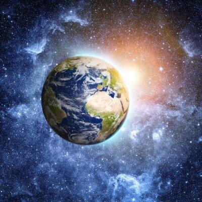 Fototapeta niebieska planeta w pięknej przestrzeni