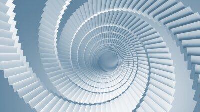Fototapeta Niebieski 3d ilustracji z perspektywy schodów spiralnych