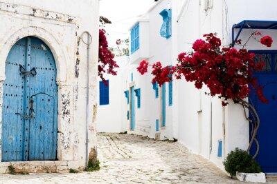 Fototapeta Niebieski drzwi, okna i białej ścianie budynku w Sidi Bou Said