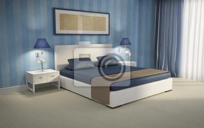 fototapeta niebieski elegancki luksus sypialnia renderowania 3d niebieski na wymiar nowoczesny. Black Bedroom Furniture Sets. Home Design Ideas