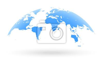 Fototapeta Niebieski globu świata samodzielnie na białym tle