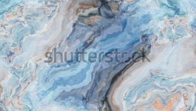 Fototapeta Niebieski marmurkowy wzór z kręconymi szarymi i złotymi inkluzjami Streszczenie tekstura i tło. Ilustracja 2D