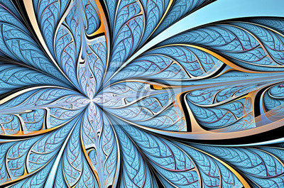 Niebieski motyl na kwiat. Abstrakcyjne tło w zimnych tonów dla kreatywnego projektowania. Piękne dekoracje na tapetę, wnętrza, albumu, okładka ulotka, plakat, broszura. Fractal grafika