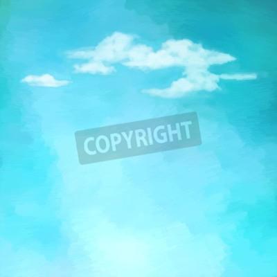 Fototapeta Niebieski obraz olejny niebo z chmurami. Streszczenie artystyczne tło wektor
