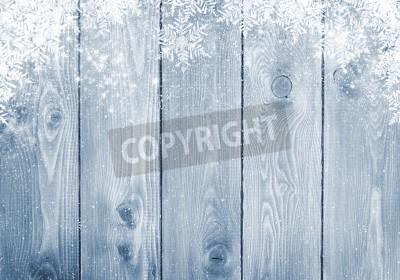Fototapeta Niebieski tekstury drewna z śniegu tła Boże Narodzenie