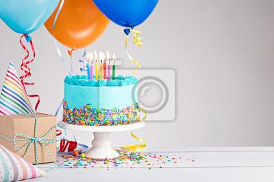 Fototapeta Niebieski Tort urodzinowy