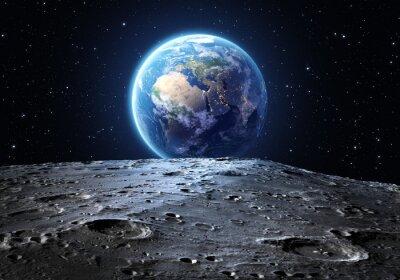 Fototapeta niebieski ziemi widziane z powierzchni Księżyca