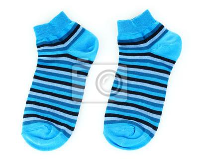 niebieskie skarpetki w paski na białym