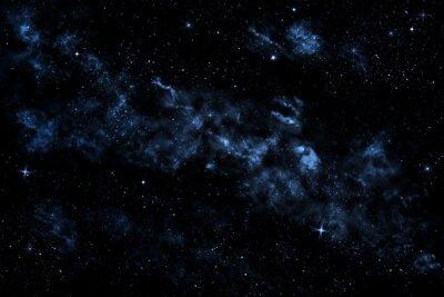 Fototapeta Niebo z błyszczącymi gwiazdami, chmury i mgły