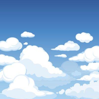 Fototapeta Niebo z puszystymi chmurami. Czyści błękitną panoramę cloudscape chmurna wektorowa kreskówki ilustracja. Puszysta chmura w powietrzu, cloudscape niebo
