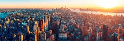 Fototapeta Niesamowity widok z lotu ptaka Manhattan dowcip zachód słońca