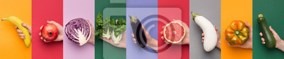 Fototapeta Nine different backgrounds with fruits and vegetables