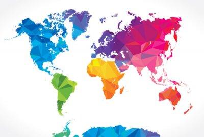 Fototapeta Niski mapa świata poli