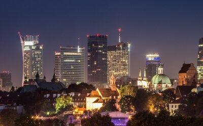 Fototapeta Noc panorama warszawskiego centrum skyline w nocy