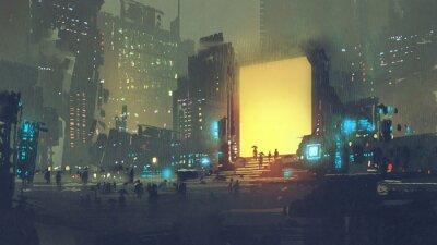 Fototapeta nocna sceneria futurystyczne miasto z wielu ludzi w stacji teleportacji, cyfrowy styl sztuki, malarstwo ilustracja