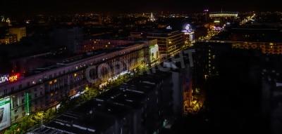 Fototapeta Nocna widok na panoramę miasta w Warszawie