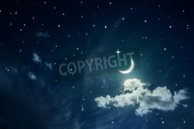 Fototapeta Nocne niebo z gwiazdami i księżycem